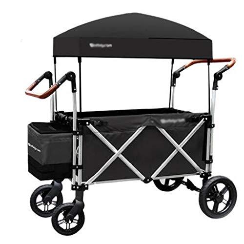 WPW Kompakter Zusammenklappbarer Sportwagen Campingwagen Im Freien Einkaufsfischen Festival Cart Trolley Leichter Kinderwagen mit Tragegurt Stoßstange, Einkaufskorb