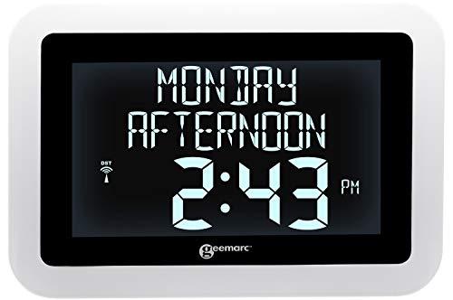 Geemarc VISO 15 – Extra große Digitaluhr mit hellem Display auf schwarzem Hintergrund – Atomic mit automatischer Zeiteinstellung – 4 Anzeigeoptionen klar sichtbar für Menschen mit Demenz / Alzheimer
