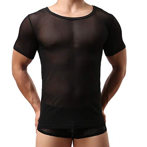 ROBO Camiseta de Tul Transparente Elástica Slim Fit Transpirable de Manga Corta Cuello Redondo para Jóvenes