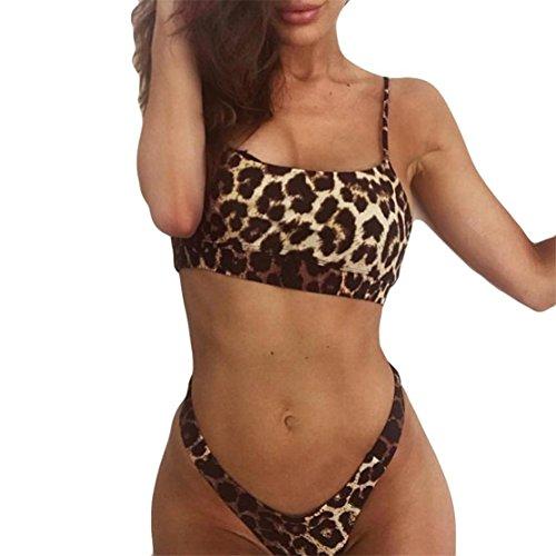 Bluestercool Bikini Sets Costumi Donna Mare Leopard Stampato Swimwear Push Up
