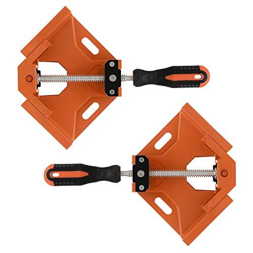 LETEBU 直角定規コーナークランプ セット90度 2個 直角クランプ クランプ diy 固定板幅 調整可能 木工定規 ツール 溶接 バイス 木工用 万能 工具 (オレンジ)