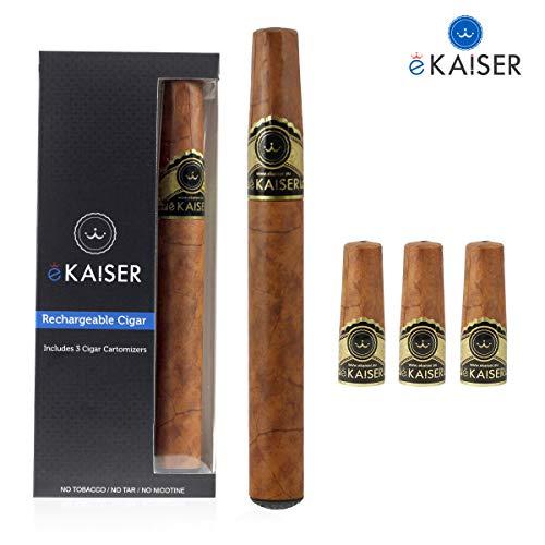 eKaiser E cigarro | USB cigarro electrónico recargable con precargadas Cartomizers | Cartuchos 3 libre de nicotina del tabaco de oro | e-Shisha Starter Kit