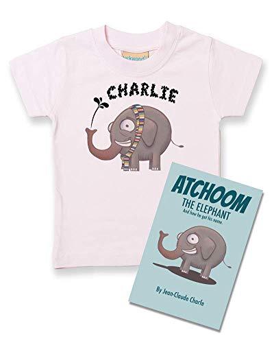 Ice-Tees Atchoom The Elephant T-shirt et livre personnalisé pour bébé garçon - Rose - 2-3 ans