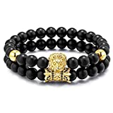 Meangel Charm Beads Bracelet for Men Women Black Matte Onyx Stone Beads Tiger Head Handmade Jewelry Set