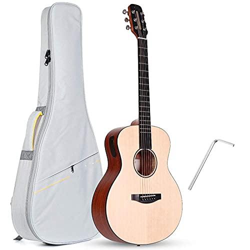 KEPOHK 36 pulgadas abeto caoba guitarra acústica LED Smart Guitare App BT5.0 Guitarra instrumentos musicales con bolsa 36 pulgadas amarillo claro