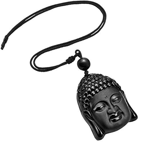 TUMBEELLUWA Stone Pendant Healing Crystal Necklace Obsidian Amulet Chakra Quartz Power Cord Handmade Jewelry for Women Men,Buddha's Head