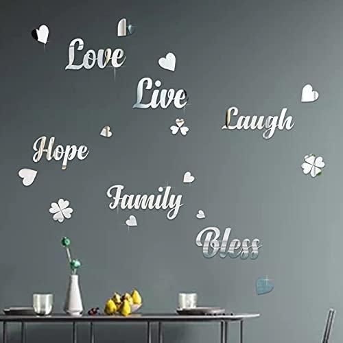decalmile 3D Pegatinas de Pared Espejos de Acrílico Vinilos Decorativos Live Love Laugh Frases Corazón Espejos Adhesivos...
