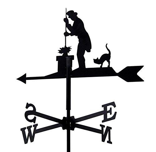 Svenska Wetterfahne Windfahne Windspiel Schornsteinfeger schwarz aus Metall klein Höhe 73,5 cm
