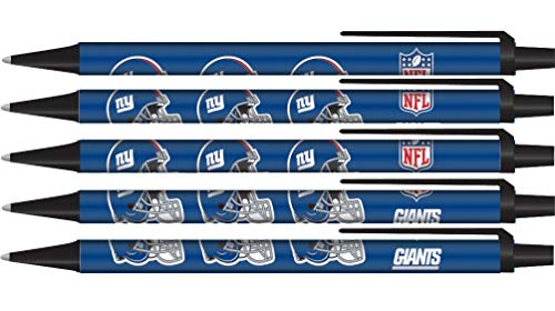 NFL New York Giants PensClick Style 5 Pack Pens, Team Colors, One Size