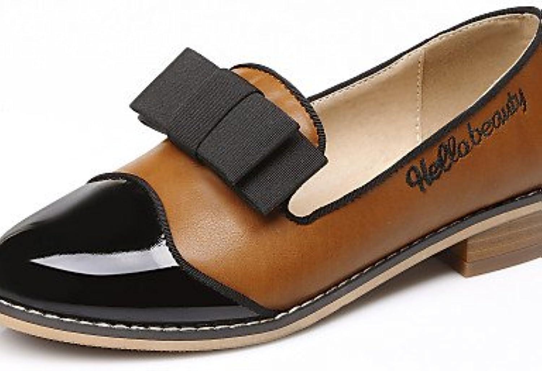 PDX Damen Schuhe Patent Leder flach Ferse rund geschlossen Zehen Schlupfschuhe Kleid Casual Gelb Wei