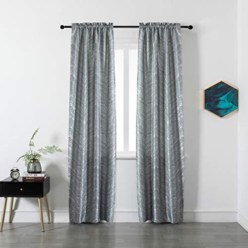 GIRASOLE Par de cortinas opacas con diseño de ondas efecto