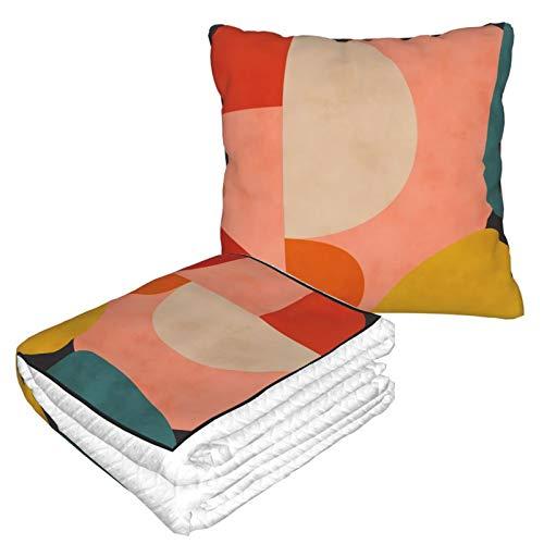 2-in-1-Decke mit weicher Tasche, geometrische Form, aus Bio, Rouge, Curry, Blaugrün, für Zuhause, Flugzeug, Auto, Reisen, Filme