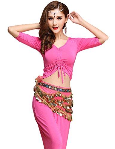 YiJee Damen Tanzkleidung Bauchtanz Kostüm Set Stammes- Indischer Tanz Top & Paillette Bauchtanz Hose Münzen Rose XL
