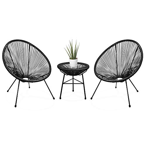 Best Choice Products 3-Piece Outdoor Acapulco Woven Rope Patio Conversation Bistro Set w/Glass Top Table and 2 Chairs - Black