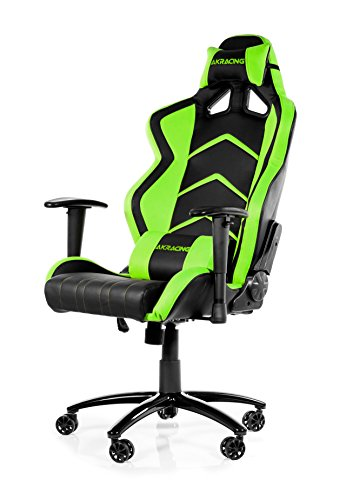 OpenWheeler AKRacing Racing Style Desk Office Gaming Chair with High Backrest, Recliner, Swivel, Tilt, Rocker and Seat Height Adjustment Mechanisms. PU Leather (Green)
