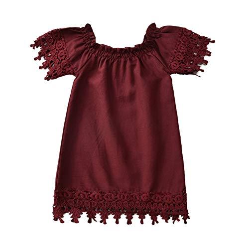 Vestido de lino Boho para recién nacidos con encaje para bebés y niñas - rojo - 6-12 meses