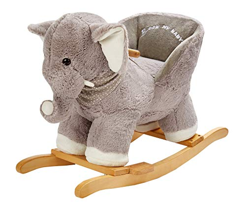 ROCK MY BABY Baby Rocking Horse Elephant with Chair, Plush Stuffed Rocking Animals, Wooden Rocking Toy Horse, Baby Rocker, Animal Ride on for Girls and Boys 1 Year and up(Gray Elephant)