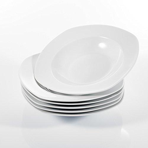 """MALACASA, Serie Elisa, 6 teilig Set 8,5\"""" Porzellan Suppenteller 21,5x21,5x4cm Tiefteller CremeWeiß Tiefer Teller Tafelservice für 6 Personen"""