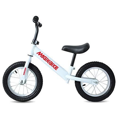 MAGIKBIKE Bicicletta Senza Pedali | Bici da Equilibrio | Prima Bici Senza Pedali | Balance Bike | Manubrio e Sedile Regolabili | De 3 a 5 Anni (Bianca)