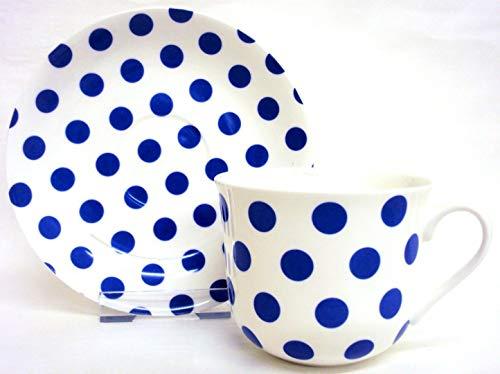 Pois Bleu Petit Déjeuner Tasse Et Soucoupe en porcelaine anglaise Bleu Taille L Tasse & soucoupe décorée à la main au Royaume-Uni Livraison gratuite au Royaume-Uni