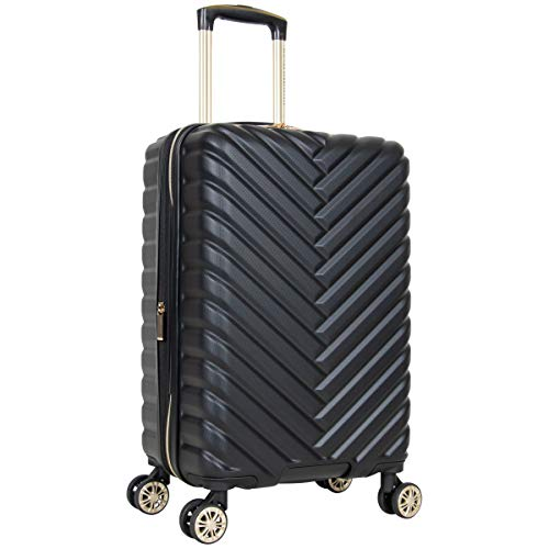 Kenneth Cole Reaction Women's Madison Square Hardside Chevron Expandable Luggage, Black, 20-Inch Carry On