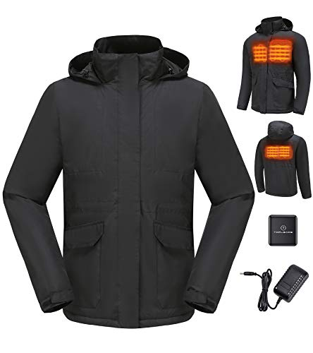 Men Electric Heated Jackets Outdoor Soft Shell Heating Coat Black S