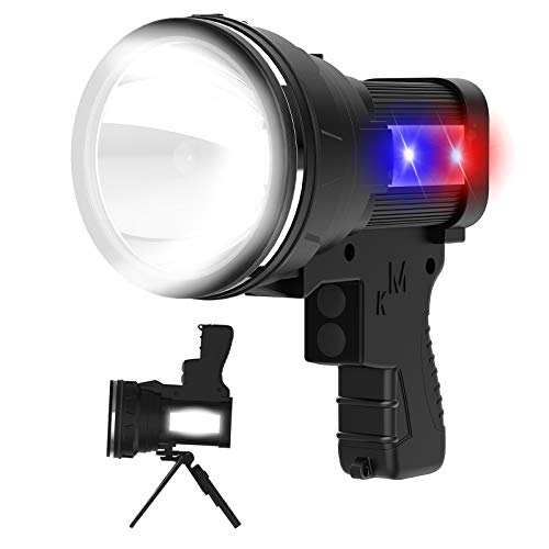 ANLOOK SpotlightRechargeable LED Spot lightsSuper Bright 6000 High Lumens FlashlightIPX4 Waterproof Lantern Searchlight Flashlightswith Tripod and USB Output Power Bank