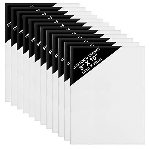 Kurtzy Kanvas (12 Pack) – 20 x 25cm – Redan Utsträckta Kanvas Paneltavlor – Lämplig för Akryl och Oljemålning Även för Skissning och Ritning