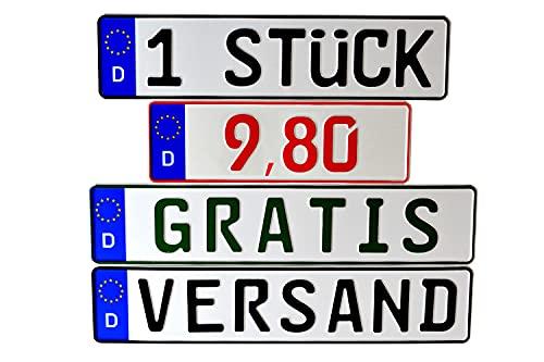 Kennzeichen 1 x KFZ Nummernschild DIN Zertifiziert Verschiedene Größen/Individuelle Prägung - für alle in Deutschland zugelassenen PKW, LKW, Busse und Anhänger | Deutsche Produktion (Standard)
