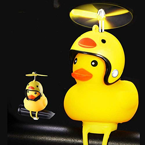 SwetLao Duck Bike Bell, Rubber Duck Bicycle Horn with LED Light and Propeller, Squeeze Horn Loud Sound, Cycling Light Cute Rubber Duck Toy for Toddler Kids Girls Boys Adult