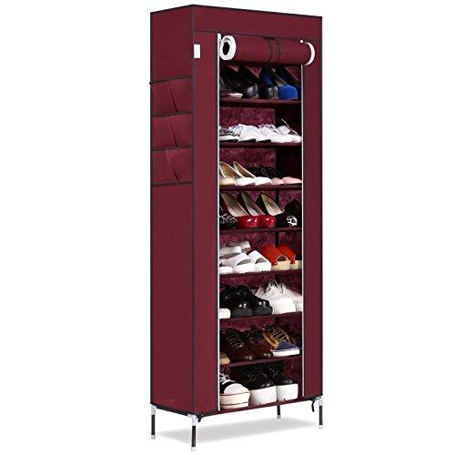 Befied Zapatero Portátil Estante para zapatos organizador de tela de zapatos 10 pisos 9 baldas 6 bolsillos laterales resistente al polvo(60×30×168cm) (Vino rojo)