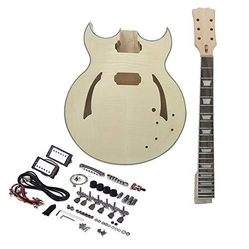 ZGHNAK Guitarra eléctrica Kit de bricolaje para guitarra sin terminar Cuerpo de tilo semihueco Cuerpo de palisandro Mástil de arce
