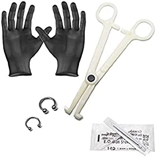 EG GIFTS Perfect Starter Septum Kit Piercing Kit 6pc 14g and 16g Horseshoe CBR Barbells Needles,Forceps and Gloves P-k-006