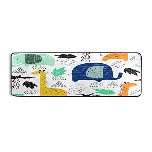 ALARGE - Alfombrilla antideslizante para el suelo de cocina, diseño de jirafa, diseño de elefante, para sala de estar, pasillo, dormitorio, baño, entrada, interior y exterior, lavable, 2 x 6 pies