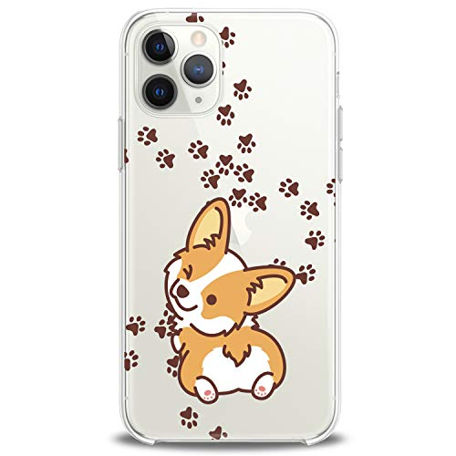 Cavka TPU Cover for Apple iPhone Case 11 Pro Xs Max X 8 Plus Xr 7 SE 2020 Lightweight Design Corgi Kawaii Gift Funny Animals Teen Print Dog Puppy Wink Flexible Silicone Slim fit Clear Soft Cute Paws