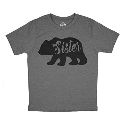 Youth Sister Bear T Shirt Cute Funny Cool Camping Family Tee for Little Sister