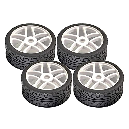 Fingerorthese.LQ Llantas para bujes de Rueda con 4 neumáticos de Goma de Ancho para 1/8 HSP HoBao RC Trailer Tractor Truck Car Parts - Blanco ( Color : Black )