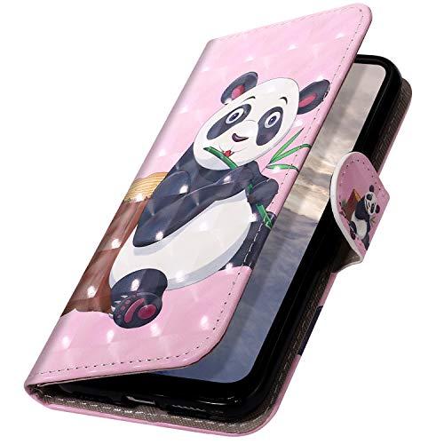 MoreChioce kompatibel mit Nokia 5 Hülle,kompatibel mit Nokia 5 Klapphülle,3D Glitzer Ledertasche Panda Muster Bling Glanz Funkeln Leder Flip Schutzhülle Handytasche Magnetverschluß