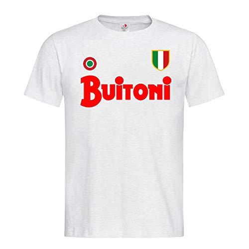 maglia napoli buitoni PR Service T Shirt Maglietta Buitoni Napoli 87/88 Scudetto Replica Rivisitazione Ricordo Uomo 100% Cotone Azzurra Bianca Nera (Bianco