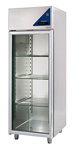 Gastlando - Premium Edelstahl Gewerbe-Tiefkühlschrank - Umluft - 600 Liter - Glastür -18° bis -22 °C