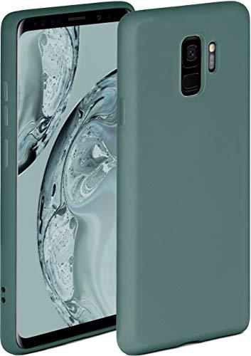 ONEFLOW Soft Hülle kompatibel mit Samsung Galaxy S9 Hülle aus Silikon, erhöhte Kante für Displayschutz, zweilagig, weiche Handyhülle - matt Petrol