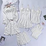 Spitze Patchwork 5 STÜCKE Nachtwäsche Nachthemd Kimono Bademantel Kleid Satin Lady Nighty Robe Anzug Sexy Home Kleidung Weiß Hochzeitsrobe-Robe Set 2-8-L