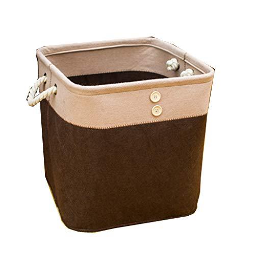 Cesto de almacenamiento de cesto sucio, Cesto de algodón y lino de tela, Cesto de lavandería plegable Fieltro de juguete Misceláneo Cesto de almacenamiento (Color : Brown, Size : 36x36x38cm)