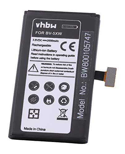 vhbw Li-Ion Akku 2000mAh (3.8V) für Handy Handy Smartphone Nokia Lumia 909, 1020 wie BV-5XW.