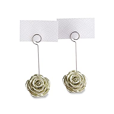 Kate Aspen Light Gold/Silver Rose Place Card Holder, Party Favor, Wedding Decoration (Set of 6)