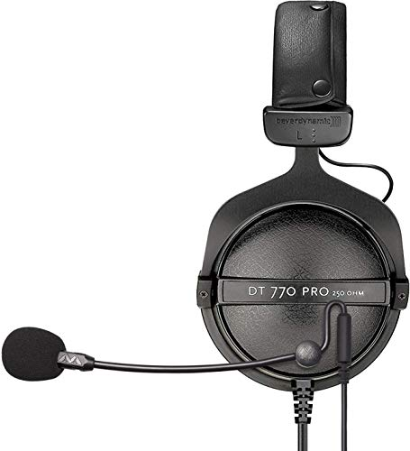 Beyerdynamic DT 770 PRO 250 Ohm Monitor Headphones for Studio Speakers, Mixers, and Audio Interfaces Bundle with ModMic Uni with Mute Switch, and Blucoil Y Splitter for Audio, Mic