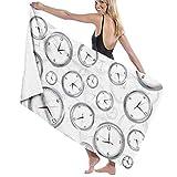 chillChur-DD Bath Towel Toalla de baño Envoltura Muchas Impresiones de Reloj Toallas de baño y Ducha de SPA para Mujer Albornoz de natación para Damas Niñas ^ 80X130 Cm