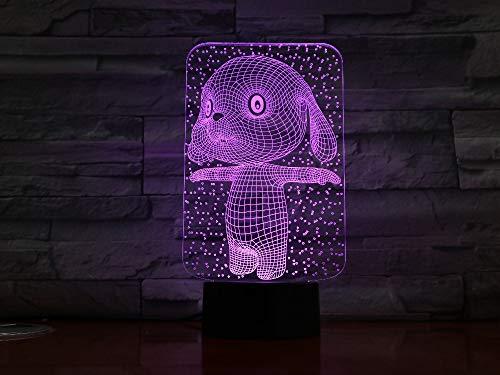 jiushixw 3D acryl nachtlampje met afstandsbediening tafellamp in konijnkleur cadeau voor kinderen nachtkastje lampje Frans