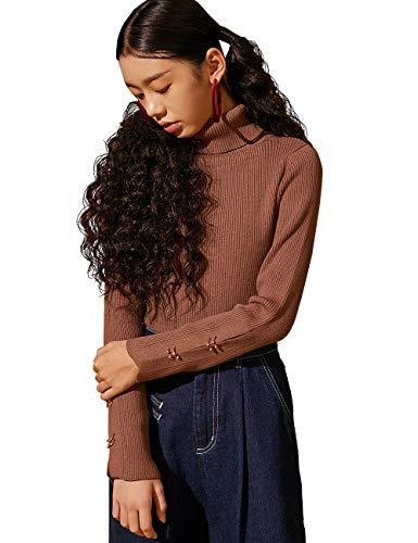 Elf zak dames rolkraagpullover elegant lange mouwen fijne gebreide trui met metalen knopen aan de mouwen knit jumper