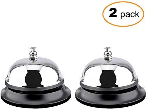 Bel Bell 2 Packs 3.35 Inch Diameter met Metalen Anti-Roest Constructie, Ringing, Duurzaam, Bureau Bell Service Bell voor Hotels, Scholen, Restaurants, Receptie gebieden, Ziekenhuizen, Magazijn(Silver)